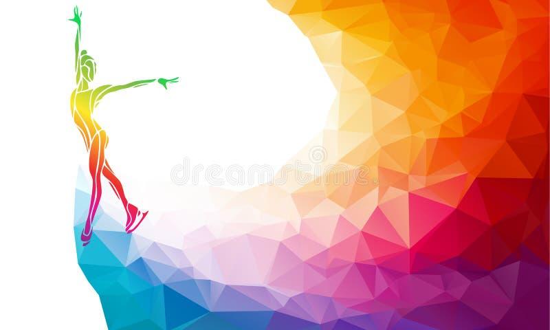 Siluetta creativa della ragazza di pattinaggio su ghiaccio sopra illustrazione di stock