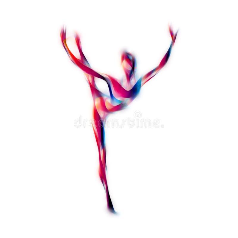 Siluetta creativa della ragazza relativa alla ginnastica Donna di dancing di ginnastica di arte illustrazione vettoriale