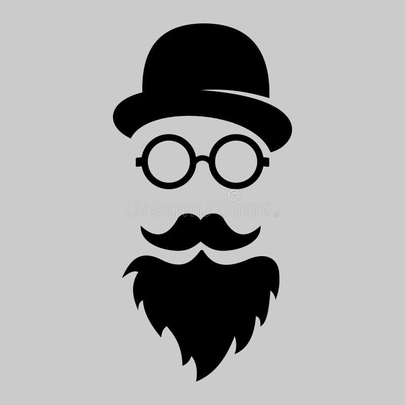 Siluetta d'annata del giocatore di bocce, baffi, vetri Illustr di vettore royalty illustrazione gratis