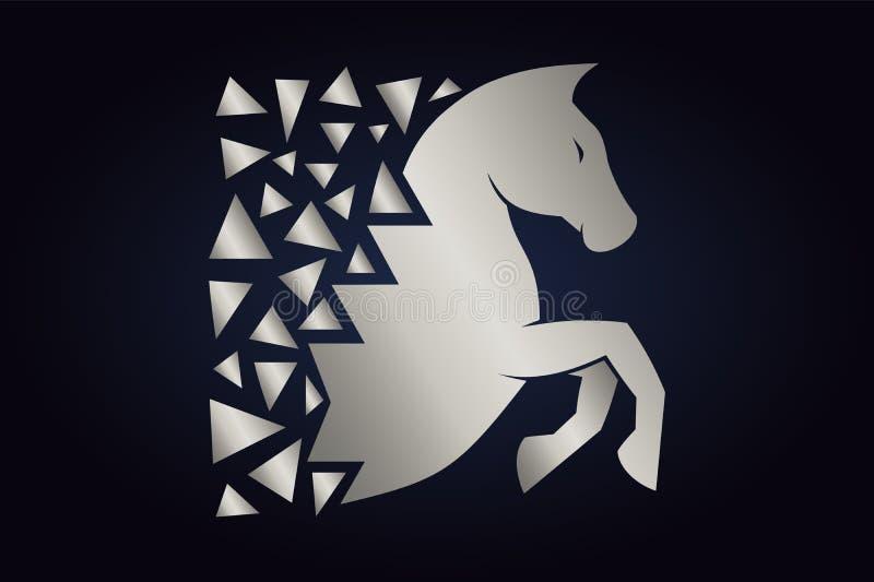 Siluetta d'argento del cavallo su fondo scuro illustrazione vettoriale