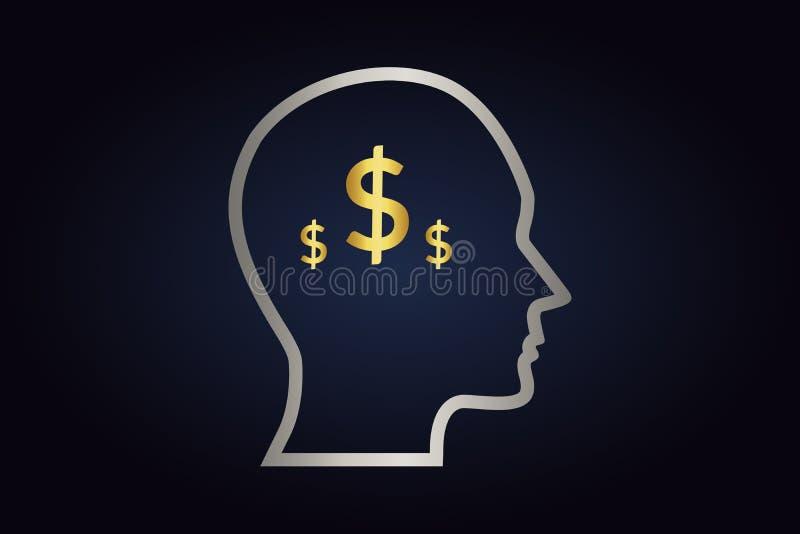 Siluetta d'argento della testa con i dollari dorati dentro illustrazione di stock