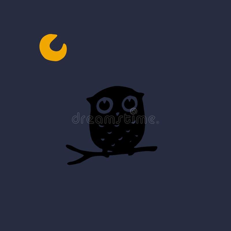 Siluetta d'ombra scura di un gufo illustrazione di stock