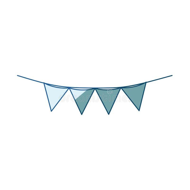 Siluetta d'ombreggiatura blu con i festoni nella forma del triangolo con il contorno sottile illustrazione di stock