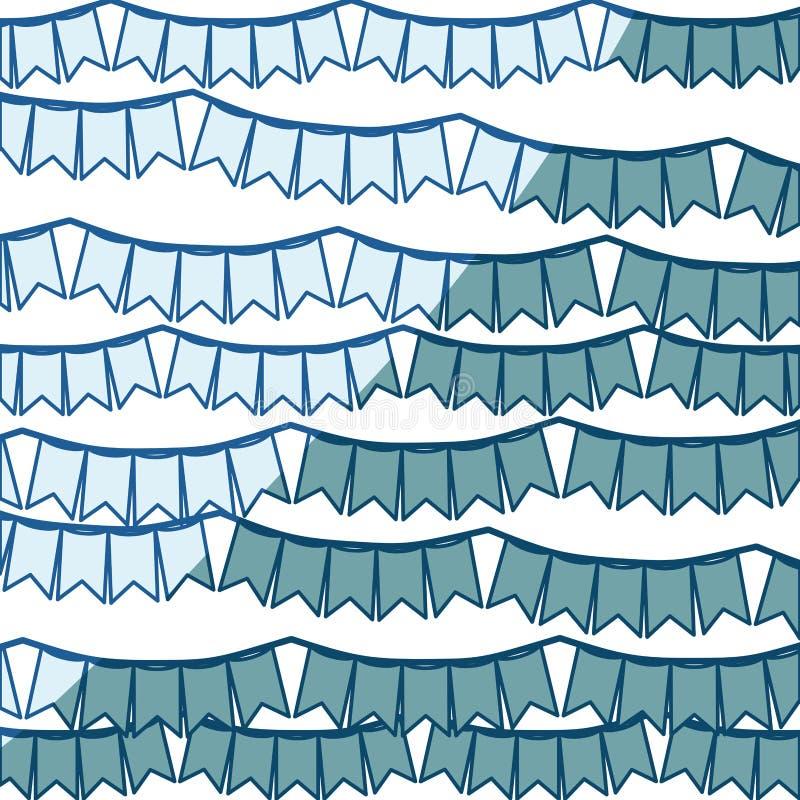 Siluetta d'ombreggiatura blu con l'insieme dei festoni nella forma del quadrato con i picchi royalty illustrazione gratis