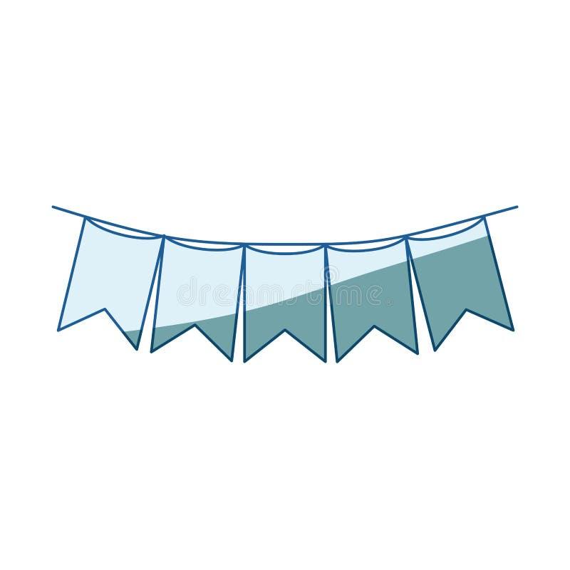 Siluetta d'ombreggiatura blu dei festoni nella forma del quadrato con i picchi in primo piano illustrazione vettoriale