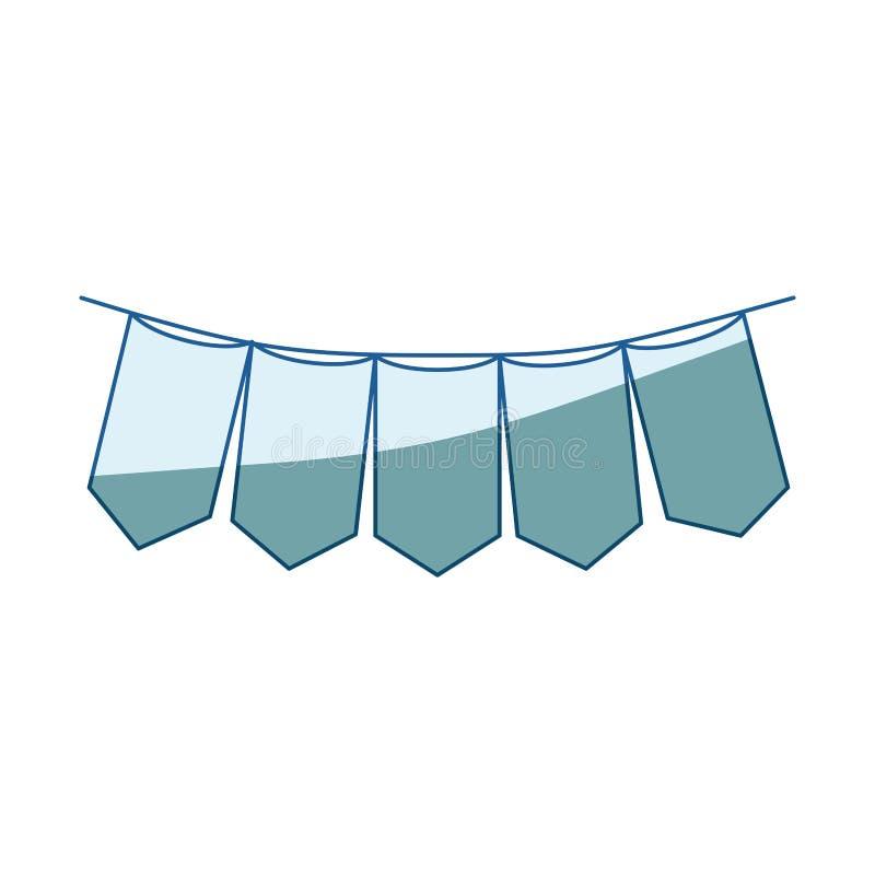 Siluetta d'ombreggiatura blu dei festoni nella forma dei rettangoli in primo piano illustrazione vettoriale