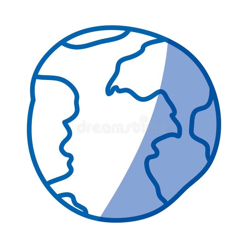 Siluetta d'ombreggiatura blu della sfera disegnata a mano del mondo illustrazione vettoriale