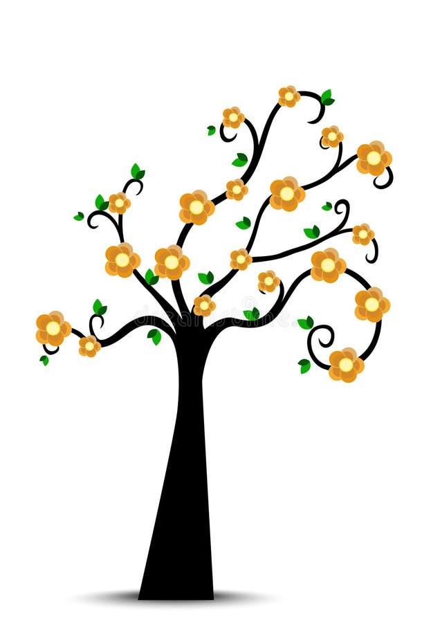 Siluetta decorativa dell'albero della primavera con le foglie verdi ed il fiore giallo illustrazione vettoriale