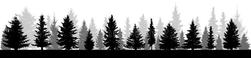 Siluetta degli abeti della foresta Abete rosso conifero royalty illustrazione gratis