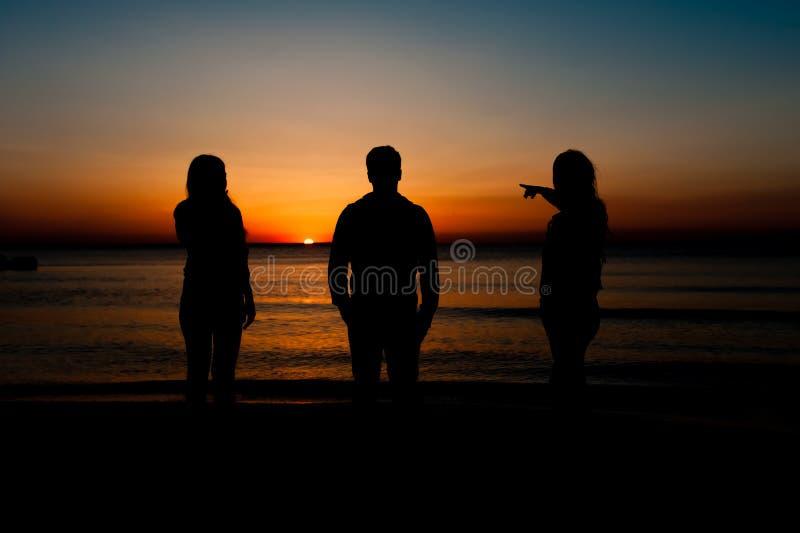 Siluetta degli amici sulla spiaggia fotografia stock