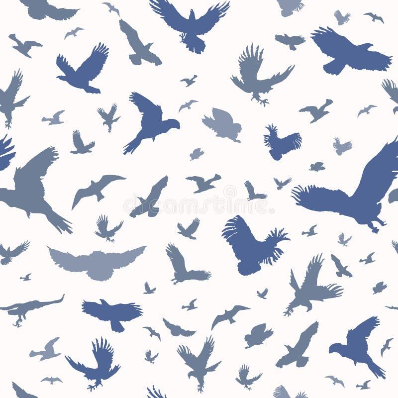 Siluetta degli uccelli di volo sul modello senza cuciture del fondo bianco Inchiostro istantaneo del tatuaggio dell'ente ispirato illustrazione vettoriale