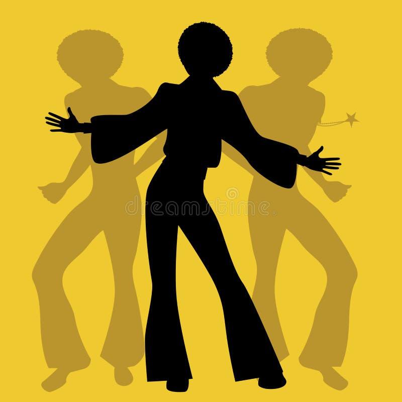 Siluetta degli uomini che ballano musica funky o della discoteca di anima, illustrazione di stock
