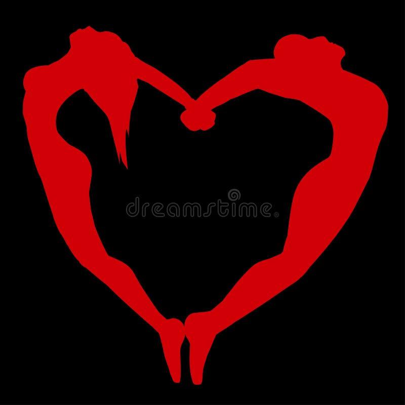 Siluetta degli uomini e delle donne sotto forma di cuore. illustrazione vettoriale