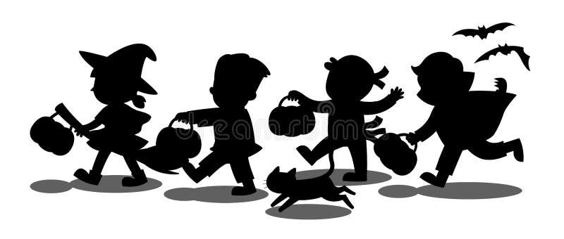 Siluetta dei bambini vestiti nell'immaginazione di Halloween illustrazione vettoriale
