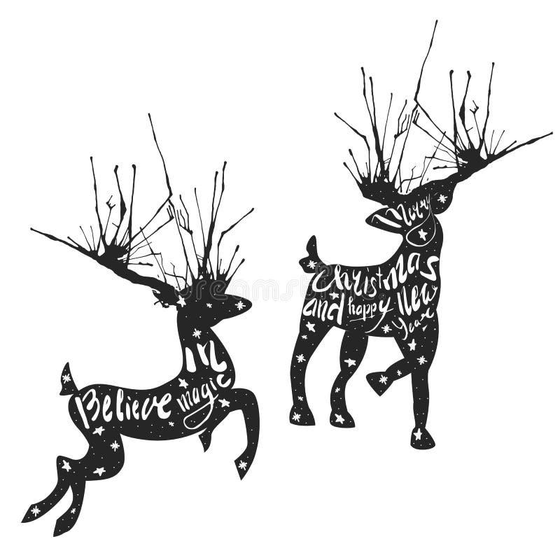 Siluetta dei cervi con i grandi corni e frasi ispiratrici di saluto dentro di loro royalty illustrazione gratis