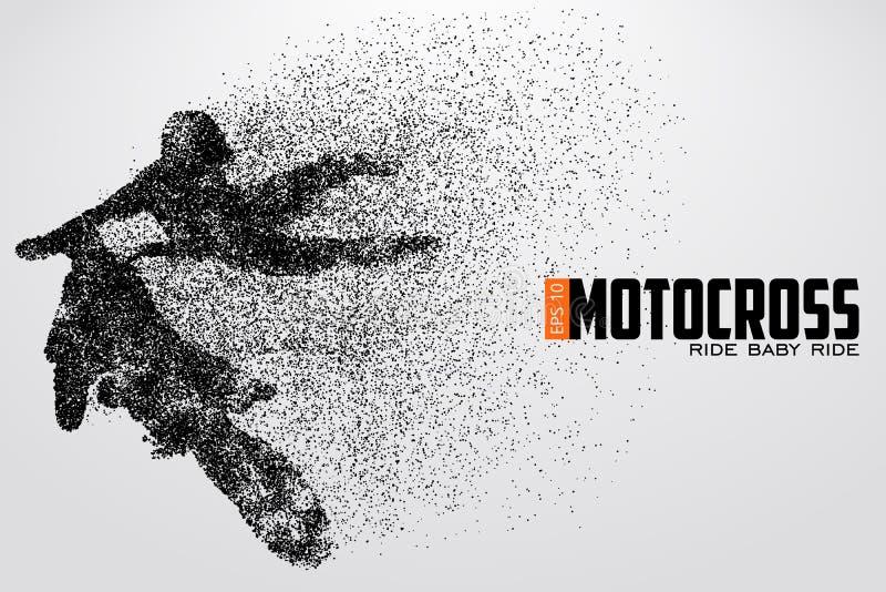 Siluetta dei driver di motocross Illustrazione di vettore