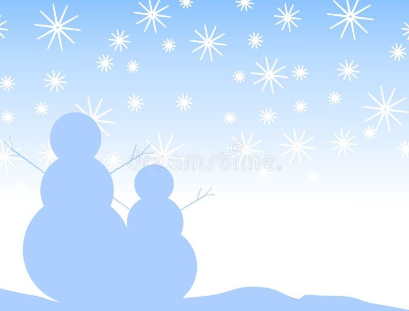 Siluetta dei fiocchi di neve del pupazzo di neve illustrazione di stock