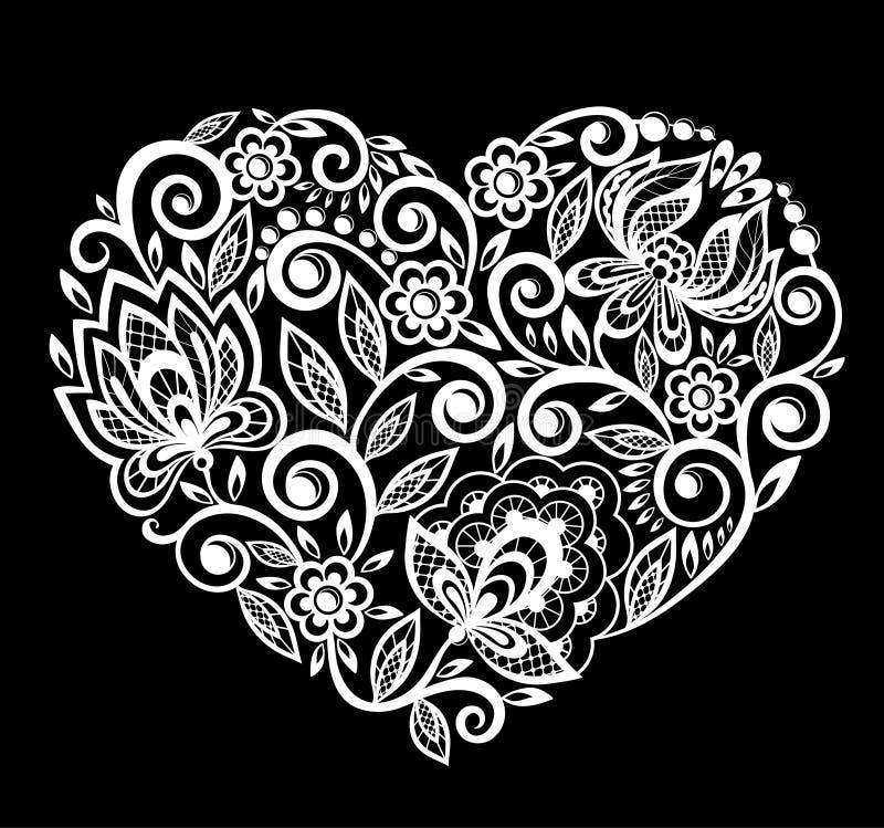 Siluetta dei fiori del pizzo del cuore, foglie Isolato su bianco royalty illustrazione gratis