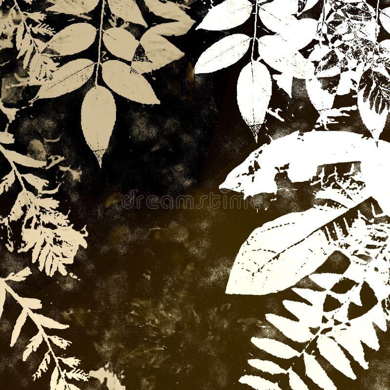 Siluetta dei fogli di autunno di Grunge illustrazione di stock