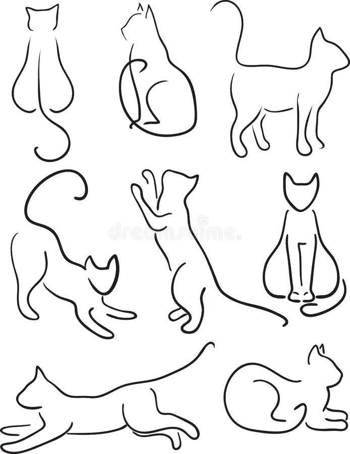 Siluetta dei gatti. illustrazione di stock
