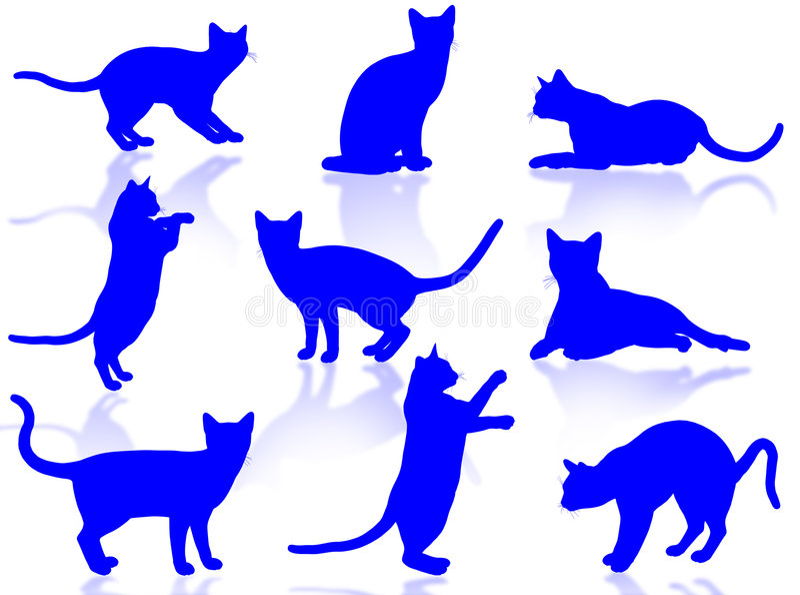 Siluetta dei gatti illustrazione vettoriale