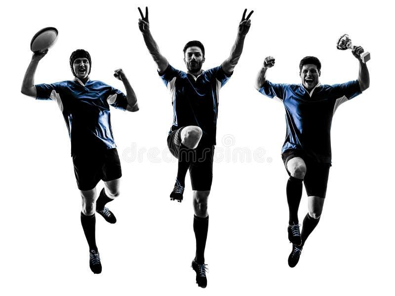 Siluetta dei giocatori degli uomini di rugby immagine stock