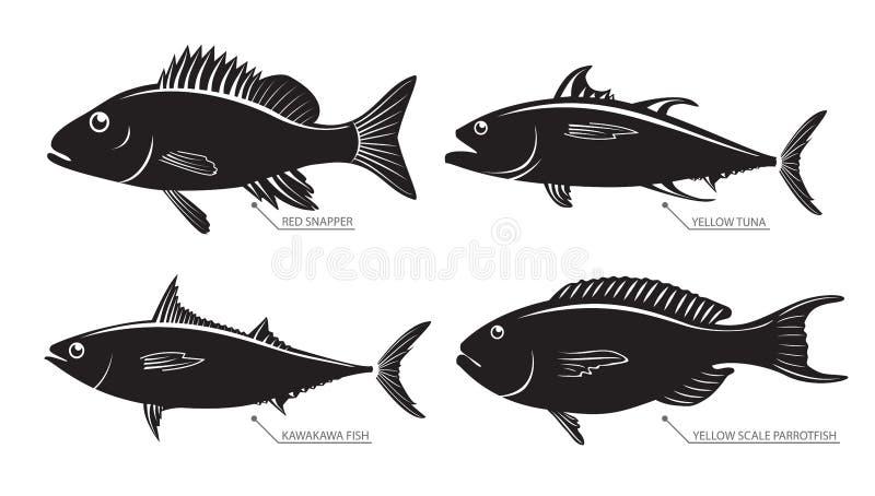 Siluetta dei pesci del fiume e del mare illustrazione for Pesci di fiume