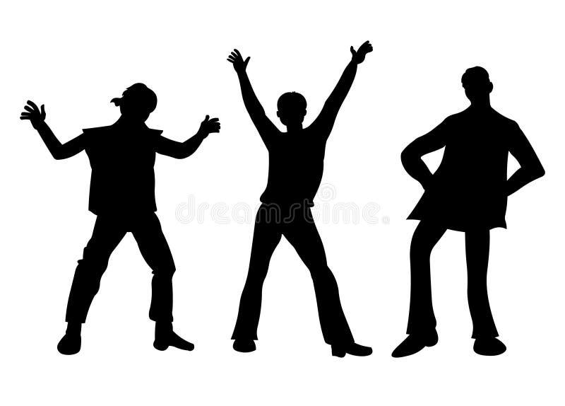 Siluetta dei ragazzi di dancing Illustrazione di vettore di giovani ragazzi royalty illustrazione gratis