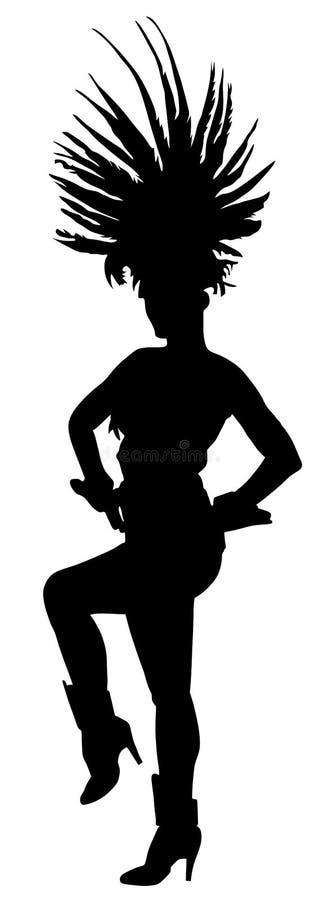 Siluetta del ballerino di carnevale del Brasile Signora attraente in ballo in costume Ballo sensuale della donna graziosa illustrazione vettoriale