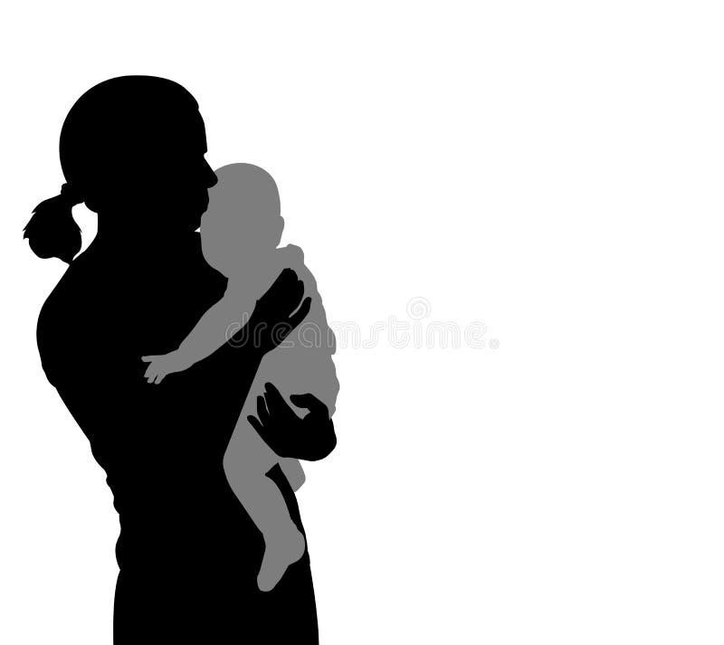 Siluetta del bambino della tenuta della madre royalty illustrazione gratis