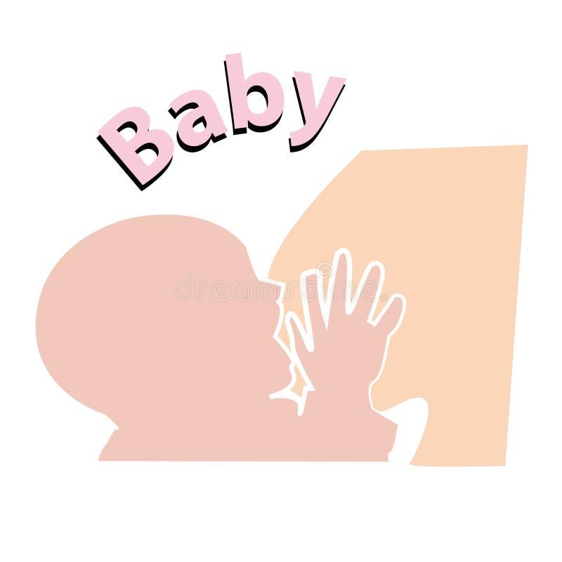 Siluetta del bambino di colore durante il segno ed il simbolo d'allattamento al seno illustrazione vettoriale
