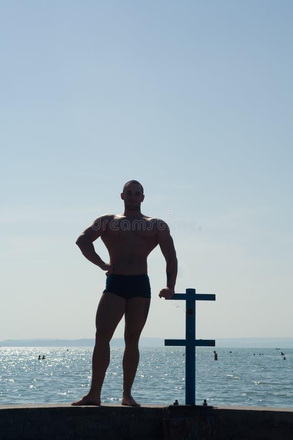 Siluetta del Bodybuilder fotografie stock