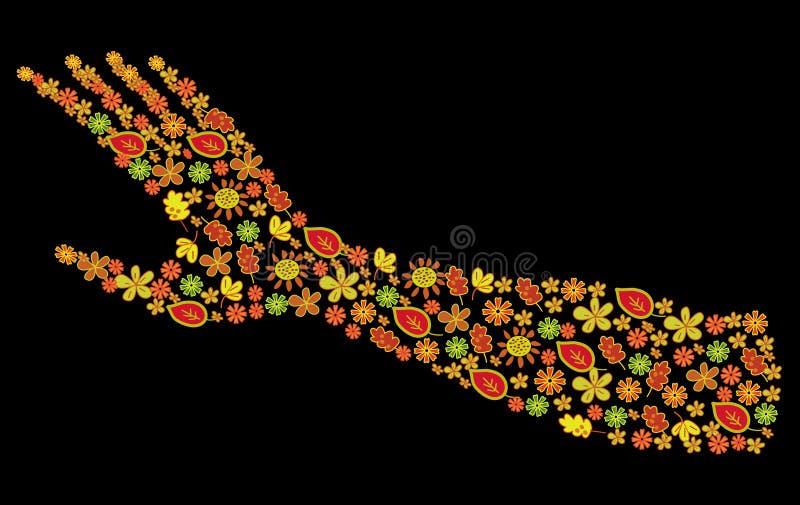 Siluetta del braccio della donna dei fiori royalty illustrazione gratis