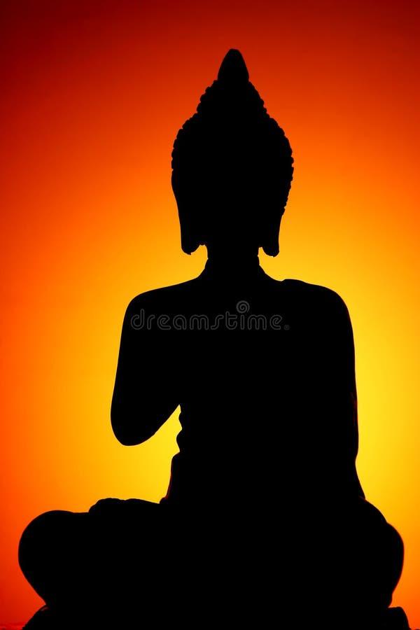 Siluetta del Buddha fotografia stock libera da diritti