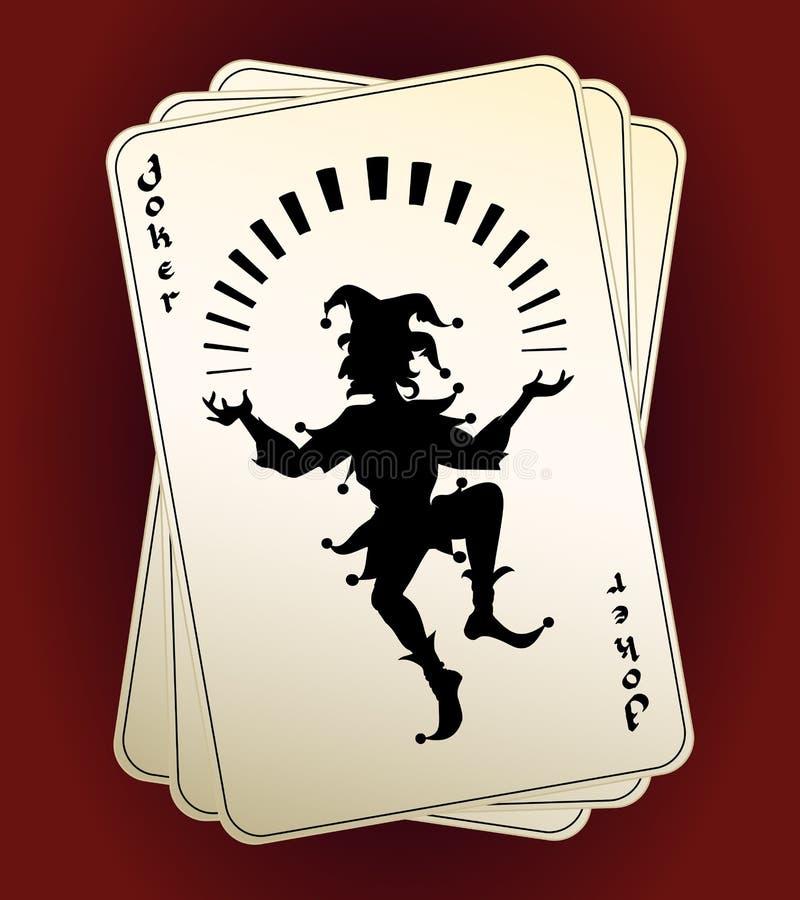 Siluetta del burlone sulle carte da gioco illustrazione vettoriale