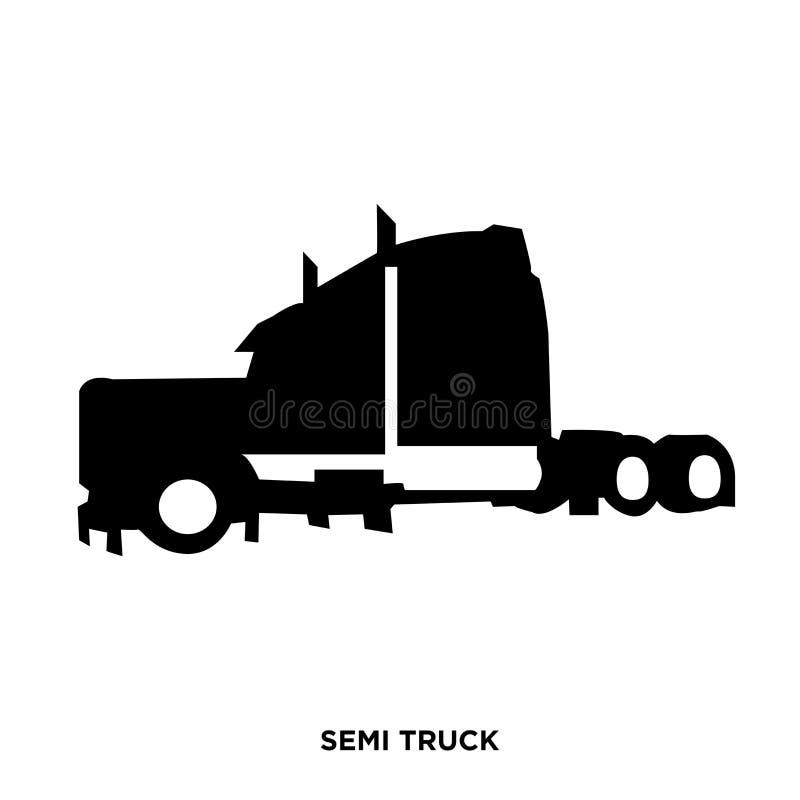 siluetta del camion dei semi su bianco, dentro nero immagini stock