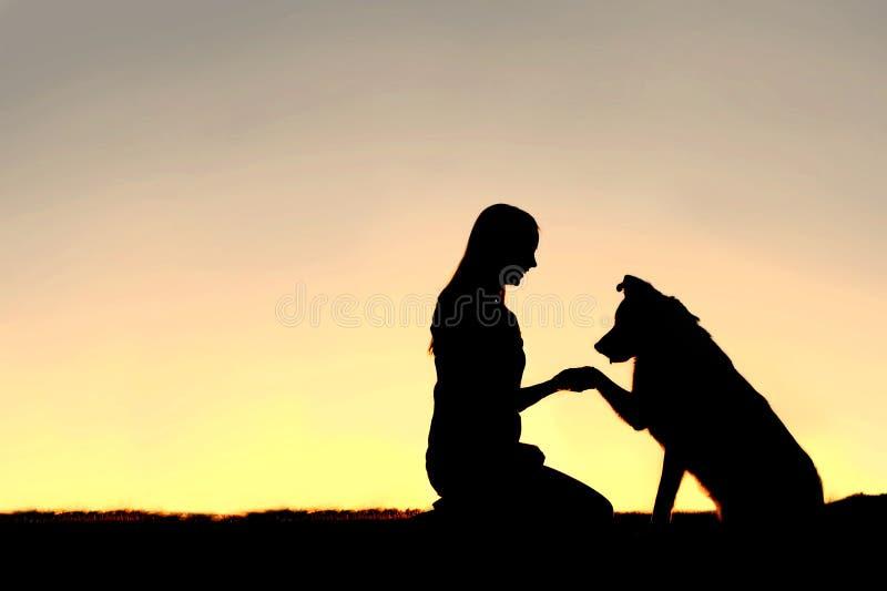 Siluetta del cane di animale domestico e della giovane donna che stringe le mani al tramonto fotografia stock libera da diritti