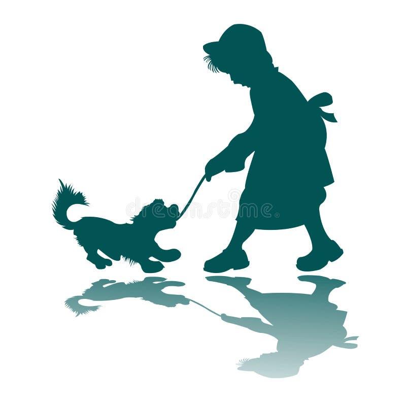 Siluetta del cane e della bambina illustrazione di stock