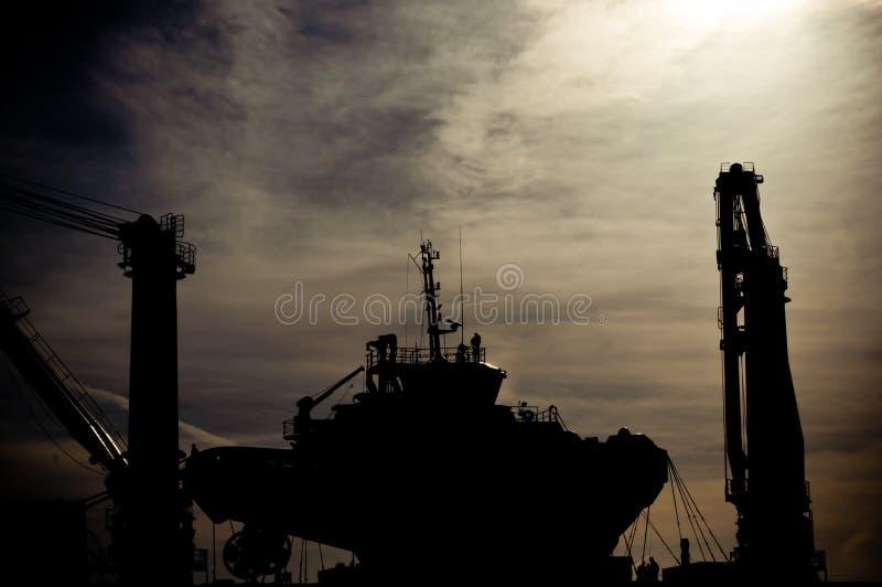 Siluetta del cantiere navale fotografia stock libera da diritti