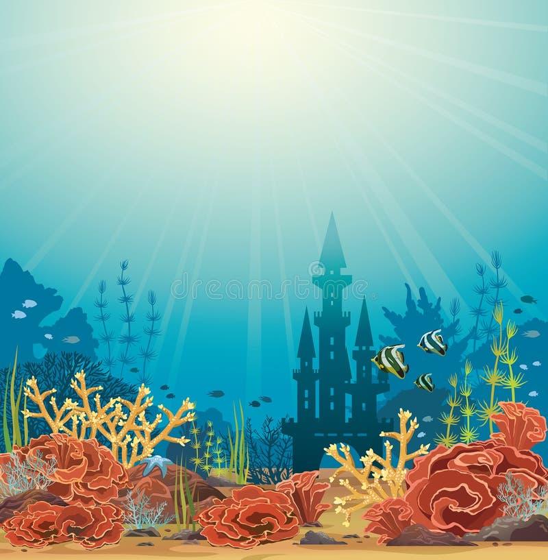 Siluetta del castello e della barriera corallina royalty illustrazione gratis