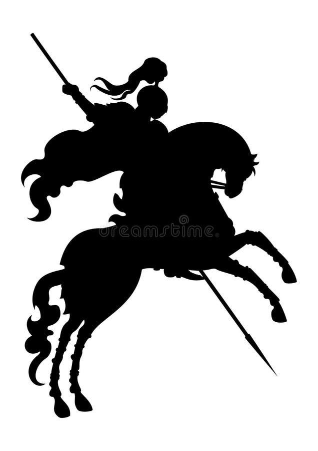 Siluetta del cavaliere del campione su un cavallo immagine stock