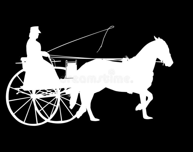 Siluetta del cavallo e del Buggy illustrazione vettoriale