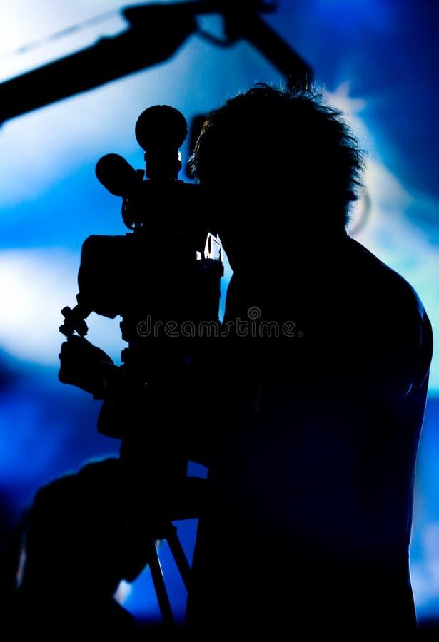 Siluetta del cineoperatore fotografie stock