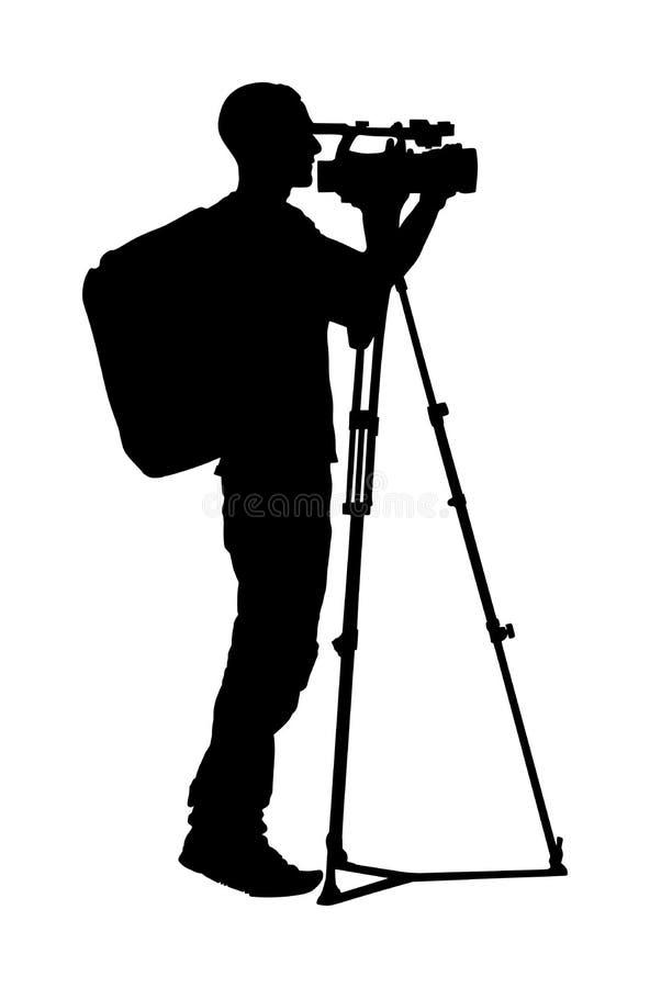 Siluetta del cineoperatore con la videocamera sull'evento, concerto, partita di sport, isolata su fondo reporter fotografia stock libera da diritti