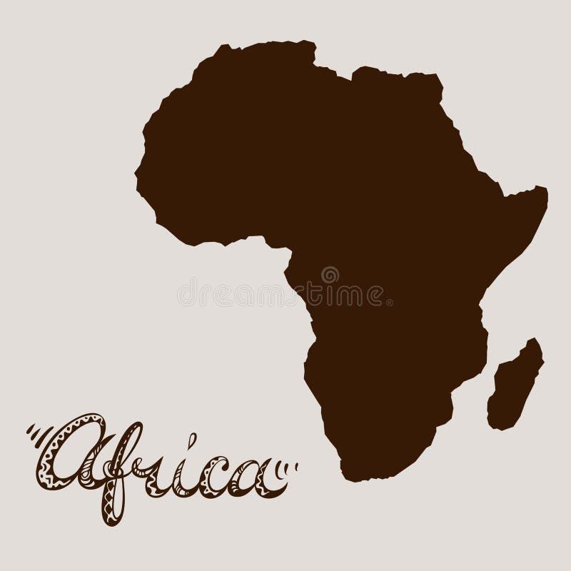 Siluetta del continente dell'Africa e titolo disegnato a mano illustrazione di stock