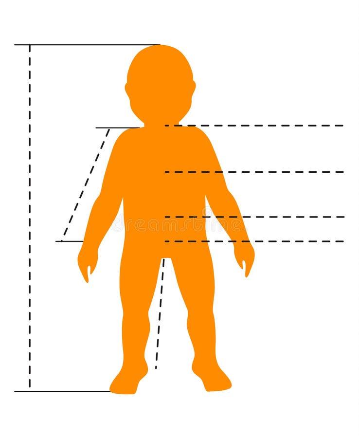 Siluetta del corpo del bambino con i puntatori e gli indicatori per il infographics medico, di sport e di modo Modello isolato ve royalty illustrazione gratis