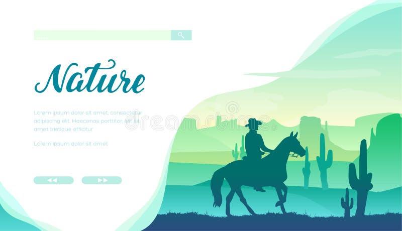 Siluetta del cowboy che monta un cavallo nei selvaggi West illustrazione di stock