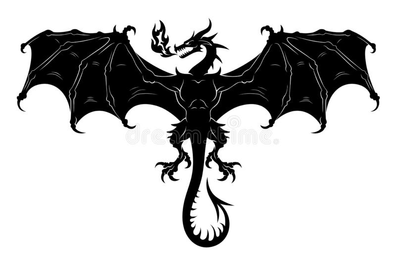 Siluetta del drago di volo royalty illustrazione gratis