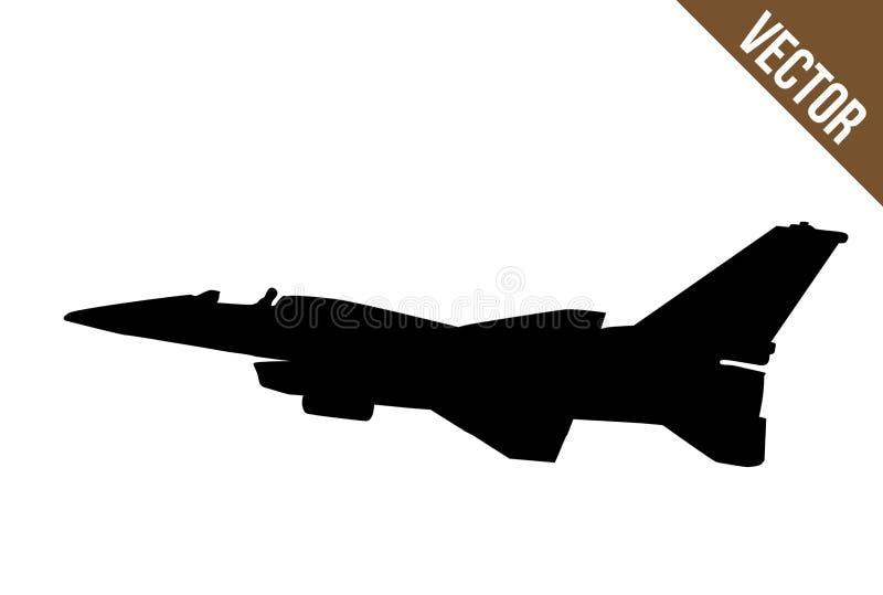 Siluetta del F-16 dell'aereo da caccia illustrazione di stock