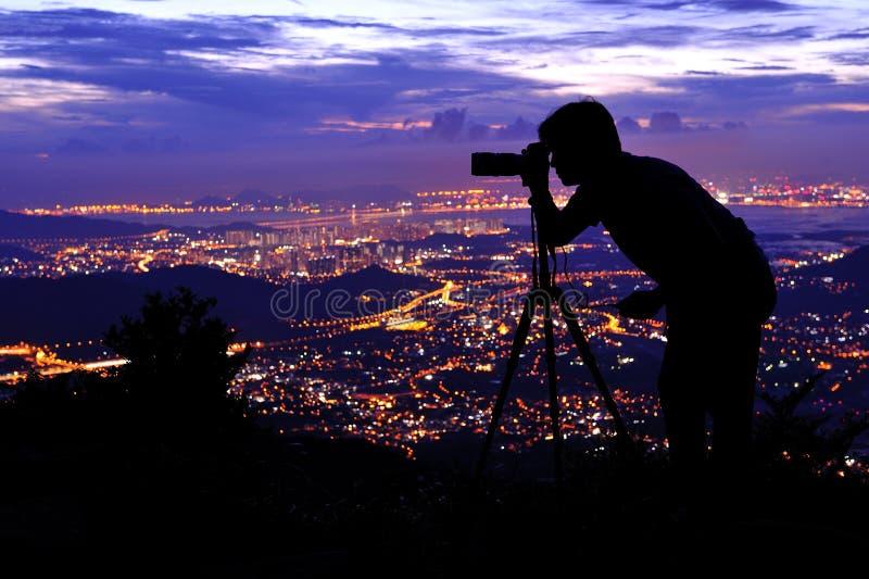 Siluetta del fotografo fotografie stock libere da diritti